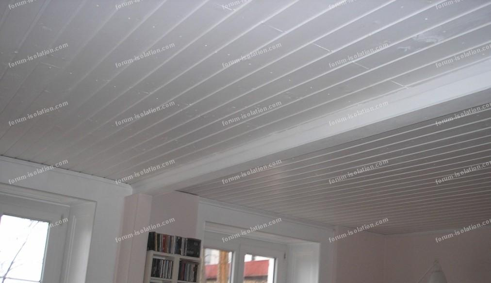 Pose lambris plafond for Peindre un plafond en lambris